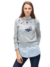 Pullover mit Stickerei vorne Tom Tailor Denim light silver grey