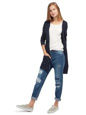Cardigan mit Streifen-Struktur Tom Tailor Denim real navy blue