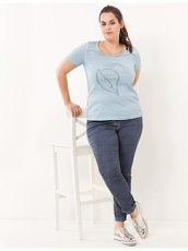 Kurzarm-Shirt mit Applikation Samoon Bleach Blue