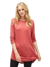 langer Pullover in Melange-Optik Tom Tailor Denim smoky rose melange