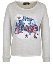 Sweatshirt LOVE & STARS miss goodlife light grey