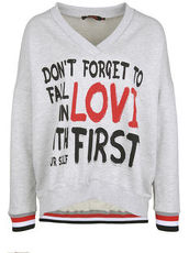 Sweatshirt DON'T FORGET TO FALL IN LOVE miss goodlife light grey