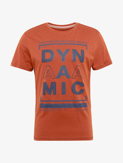 Tom Tailor Casual T-Shirt mit Schrift-Print, Herren, burn umber orange,...