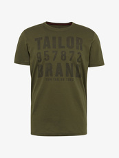Tom Tailor Casual T-Shirt mit Logo-Print, Herren, deep forest green, Größe: XL