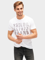 Tom Tailor Casual T-Shirt mit Logo-Print, Herren, white, Größe: XL