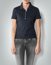 Barbour Damen Polo-Shirt Golding navy Polo-Shirt mit karierten Kontrast-Details