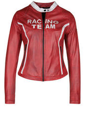 Lederjacke RACING TEAM FREAKY NATION red/white