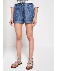 COMMA Jeansshorts mit Floral-Allovermuster