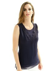 Top Alba Moda White navy