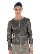 Lederjacke mit Metallic-Print Alba Moda Green anthra metallic