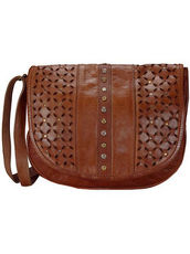 Punched Umhängetasche Leder 31 cm Billy the kid dark brown
