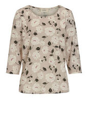 Bluse mit Blumen Cartoon Rosé/Grey - Rot