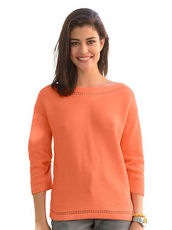 Pullover mit Ajourkante Alba Moda Green orange