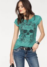 Blue Monkey Rundhalsshirt »FLOWER SKULL«